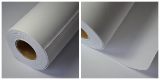 "Medium Textured Polyester Canvas Rolls Matte Bright White 24"" 36"" 44"" 50"" 60"""
