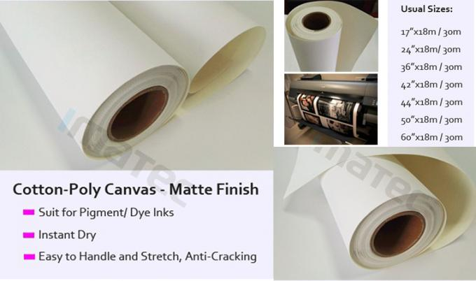 Anti - Cracking Wide Format Matte Inkjet Cotton Canvas With 420g Pigment Inks