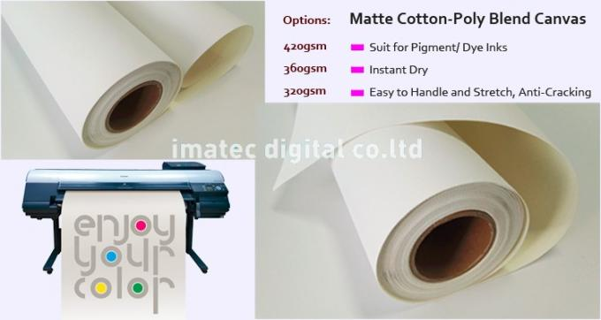 360g Poly Cotton Fabric Matte Inkjet Cotton Canvas Roll Acid Free