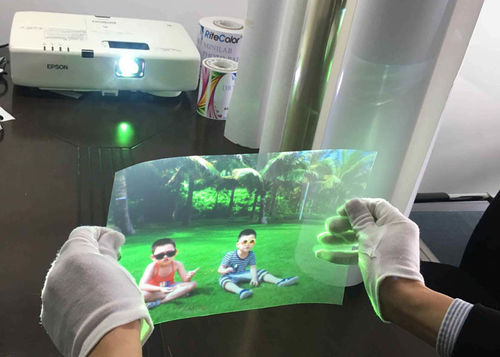 Imatec NEW Launched  3D Hologram/Holographic Transparent Self Adhesive Rear Projection Film