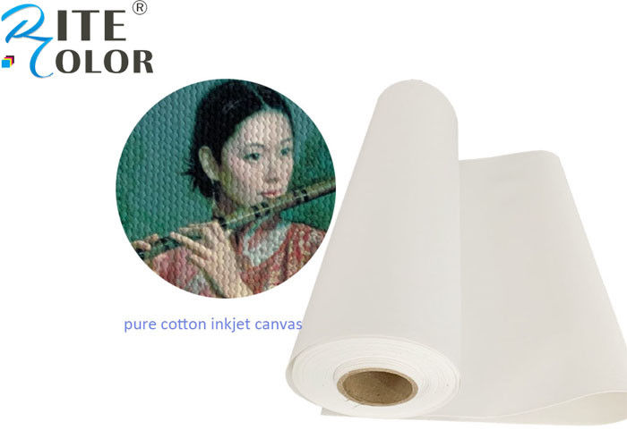 Matte Pure Inkjet Cotton Canvas Roll For Large Format Printing 360gsm Weight