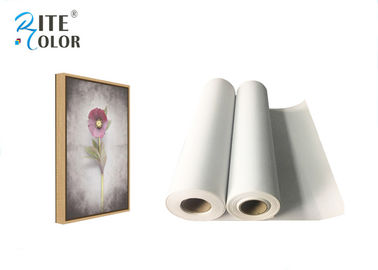 "China Medium Textured Polyester Canvas Rolls Matte Bright White 24"" 36"" 44"" 50"" 60"" factory"